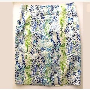 Ann Taylor Dappled Blue White Career Pencil Skirt
